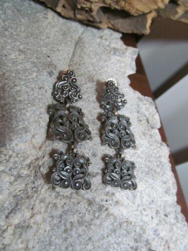 Vintage JAMES AVERY Sterling Silver 925 Filigree Three Part Stud Earrings 10.6g