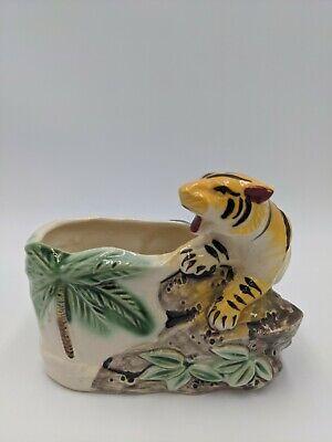 Vintage Shafford Japan Tiger Planter Flower Pot Hand Painted Kitsch
