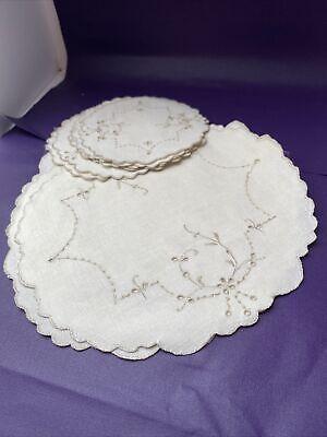 Vintage Linen ecru Place Mats & Coasters x 6