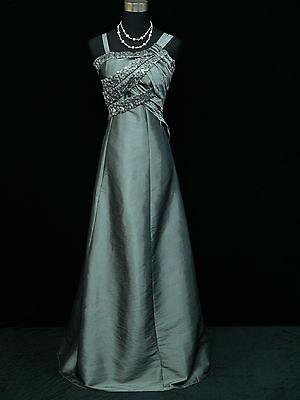 Cherlone Plus Size Satin Grey Ball Prom Wedding/Evening Gown Dress UK 18-20