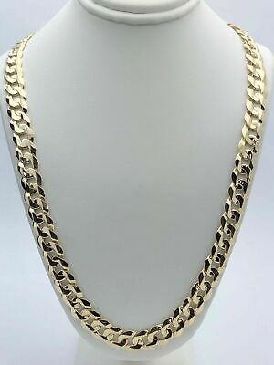 """14k Yellow Gold Solid Curb Cuban Link Chain Necklace 22"""" 9mm  54-56 grams"""