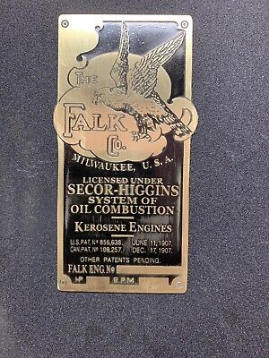 New Falk Gas And Kerosene Engine Brass Data Plate Tag Antique