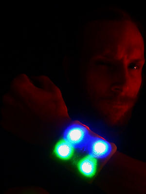 Pair LED wristband - 80's, light up, rave, EDM, techno, party, kids Cuff  - Led Wrist Bands