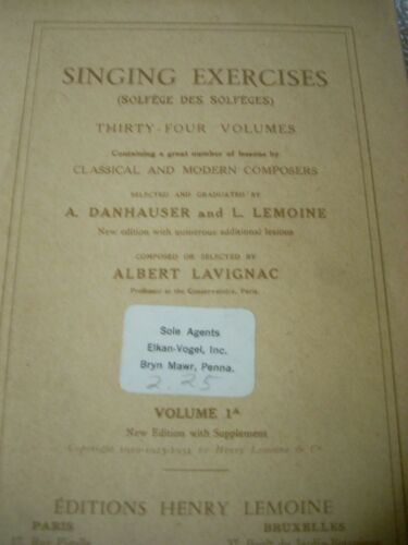Solfege Des Solfeges Singing Exercises 1951 Editions Henry Lemoine France 75page