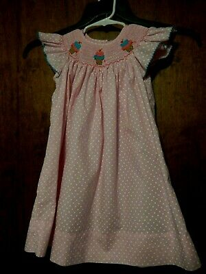 Girls Petite Palace Smocked Pink Bishop Dress polka dots Cones or Cupcakes  Sz 2 - Polka Dots Cupcakes
