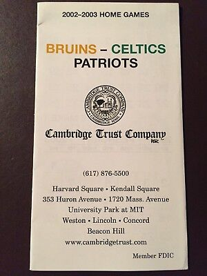 Boston Bruins 2002 03 Nhl Pocket Schedule   Celtics Patriots  Cambridge Trust