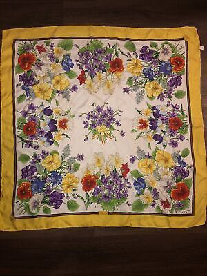 "GUCCI Viole SCARF ""FLORal Violet"" 100% Silk - Italy Euc Rare Yellow Vintage"