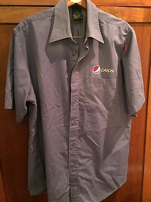 PEPSI Embroidered Button Front S/S Casual Work Shirt Delivery Blue Large