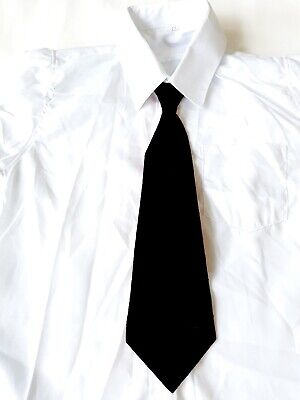 Krawatte, Weißes Hemd (Festliche Kinder-Hemd mit schwarze Krawatte für Jungen in weiss/ A25)