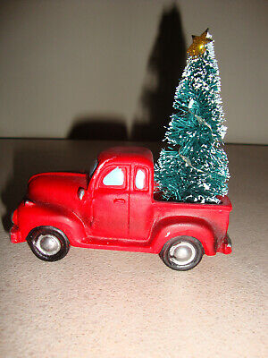 Christmas holiday decor resin vintage light up red truck with tree