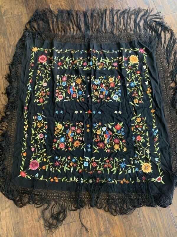 Antique Embroidered Black Silk Piano Shawl Scarf Boho Hippie Wear