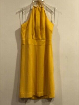 Banana Republic 100% Polyester Bright Yellow Open Back Halter Dress - Size 8