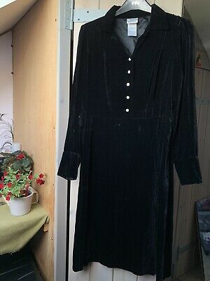 Vintage Laura Ashley Black Velvet Dress Long Sleeved Goth 80s Size 12