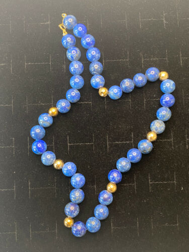 Vintage Retro 14k Yellow Gold Lapis Lazuli Beaded Necklace 16