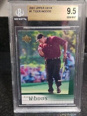 Tiger Woods BGS 9.5 GEM MINT 2001 Upper Deck#1 Rookie CardMasters Champion