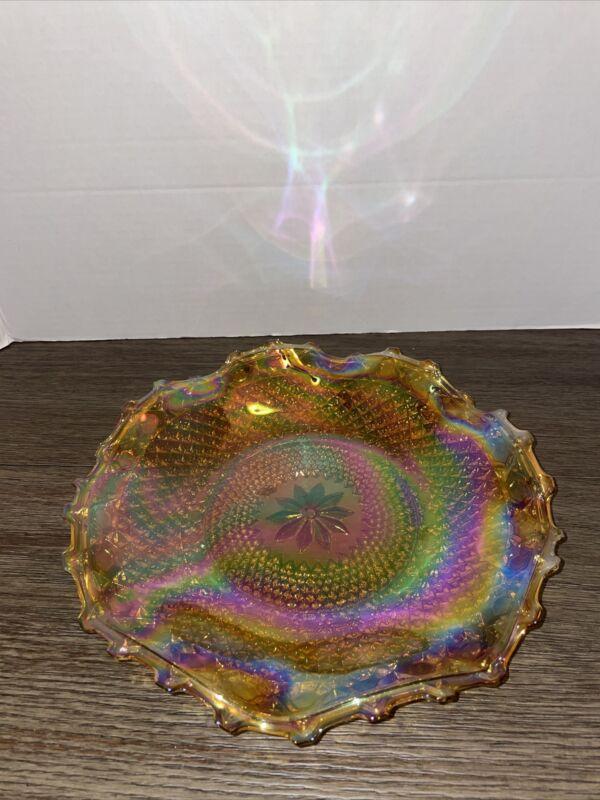"Vtg Indiana Marigold Carnival Glass Ruffled Dish Plate Diamond Design 10"""
