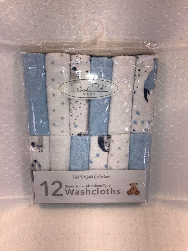 Rene Rofe BABY INFANT Washcloths 12 Wash Cloths Bath Blue Safari Stars Dots Boy