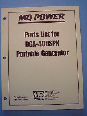 Mq Power Dca-400spk Portable Generator Parts List Manual Sn 1334171