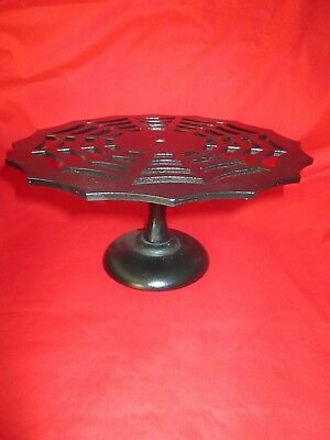 Halloween Pedestal Cake Stand (Wood Spider Wed Shaped Pedestal Cake Serving Plate Halloween Goth Party)