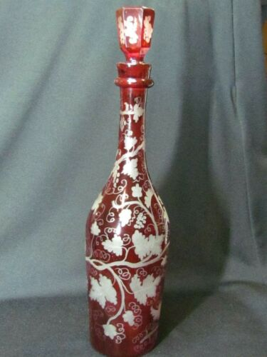 Bohemian Ruby Flash Etched Cut-to-Clear Decanter Grapes & Vines