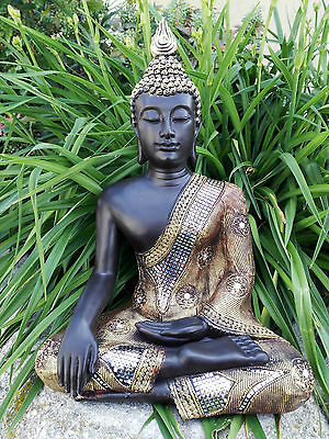 XL Thai Buddha Budda Figur Statue Feng Shui sitzend schwarz gold silber ca 50 cm
