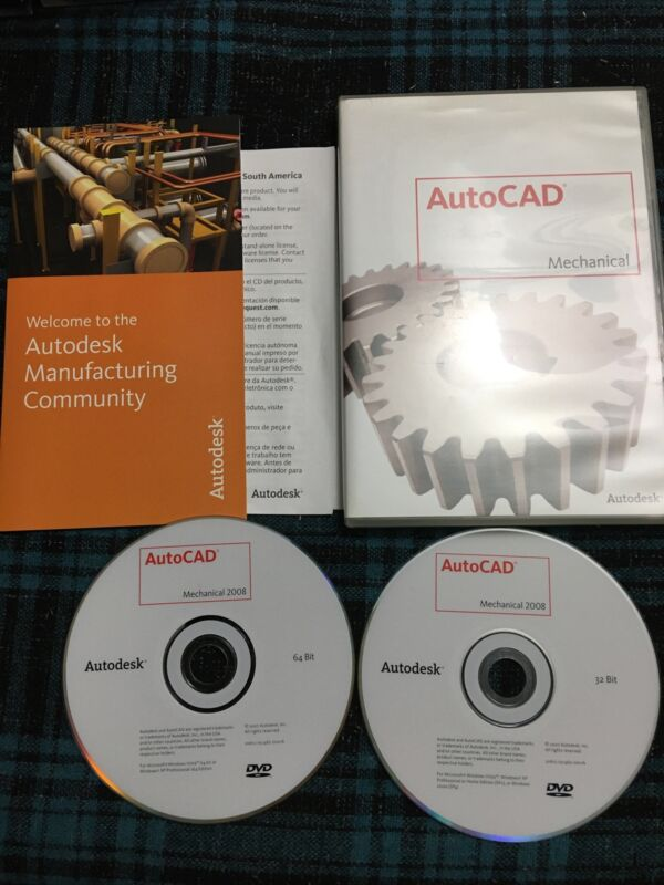 Auto Cad Mechanical 2008  Both Discs  Used Software
