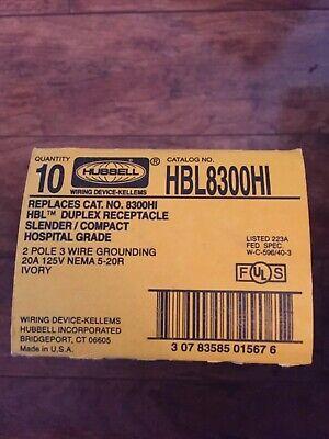 Lot of 10 Hubbell HBL8300HI Duplex Receptacle Hospital Grade 2P 3 Wire 20A ()
