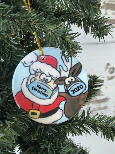 Santa and Reindeer with mask Christmas Ornament