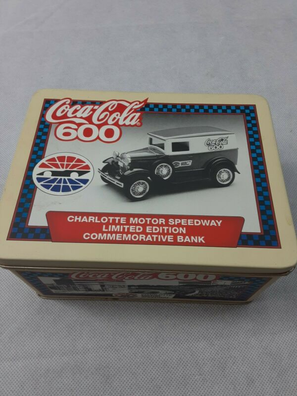 1993 Coca Cola - Commemorative Tin - Charlotte Speedway 600 - Liberty Truck Bank