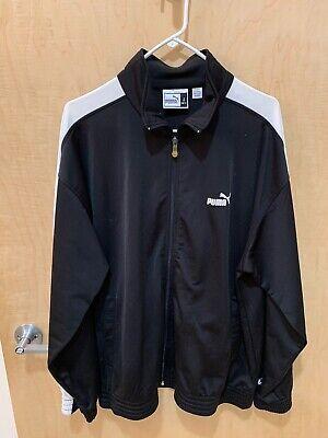 Puma Mens Track Jacket - Black with White Stripes - Size Large