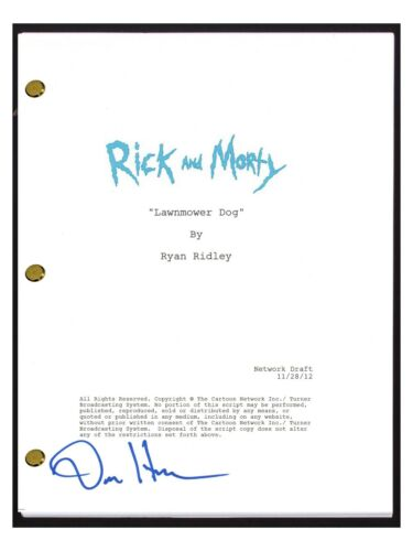 Dan Harmon Signed Autographed Rick and Morty Lawnmower Dog Episode Script COA