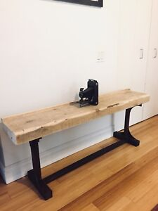 VINTAGE INDUSTRIAL RECLAIMED WOOD BENCH WHITE PINE