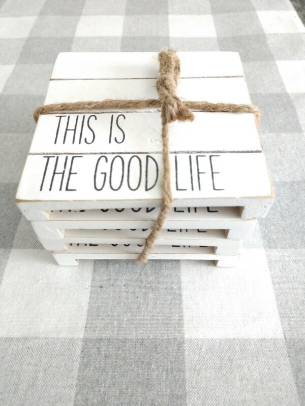 """Mud Pie Wooden Coasters Set Of 4 """"this Is The Good Life"""" Whitewashed Rustic New"""