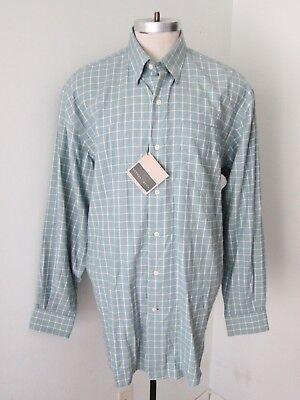 (NWT $89 Cutter & Buck Sage Green Check 100% Cotton Hidden BD Dress Shirt XL)
