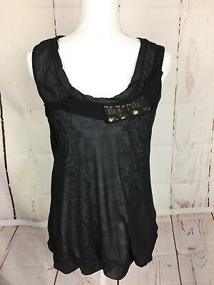 Scoop Baby Doll (Cabi Blouse SZ M Sleeveless Scoop Neck Paisley Baby Doll Black Office Casual)