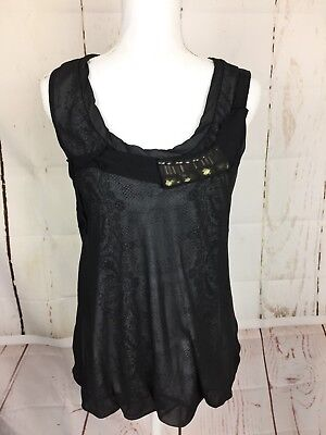 Cabi Blouse SZ M Sleeveless Scoop Neck Paisley Baby Doll Black Office Casual Scoop Baby Doll