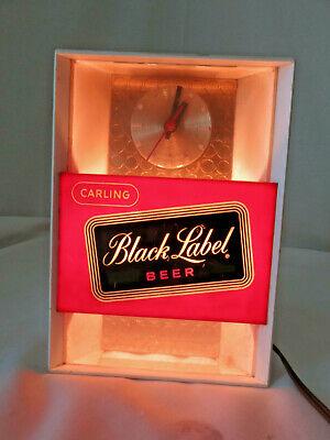 Vtg Carling Black Label Beer Light Up Bar Back Register Clock Sign