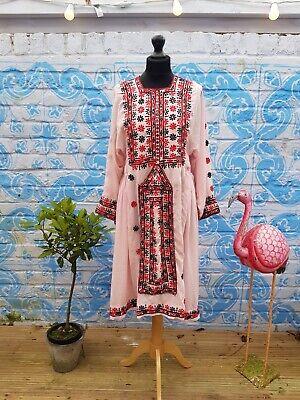 Vintage Handmade Balochi Indian Embroidered Boho Hippy Gypsy Kaftan Dress Pink
