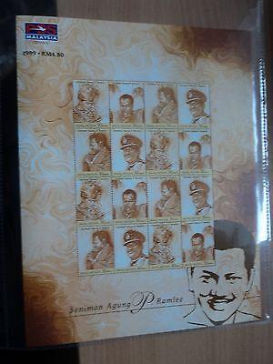 Malaysia 1999 24 Jul 70th Birth Anniv of P Ramlee Sheetlet 16 x 30 sen