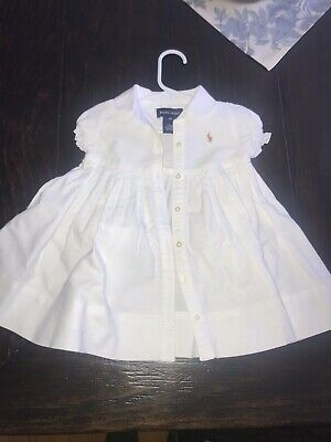 Ralph Lauren 9 Months Baby Girl Blue White Oxford Dress Pony Easter Outfit $45