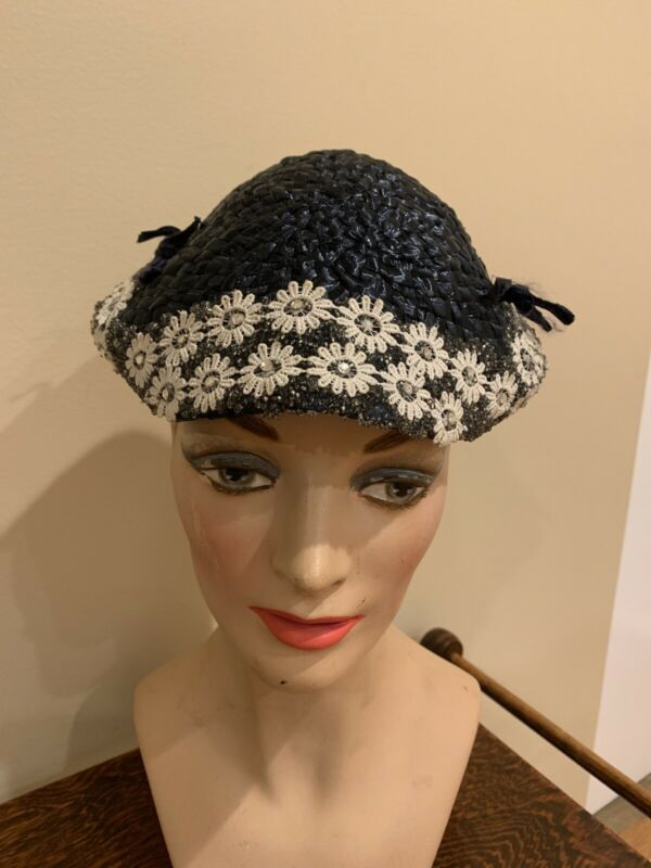 Vintage 1940's Navy Straw Hat With White Flowers And Rhinestones