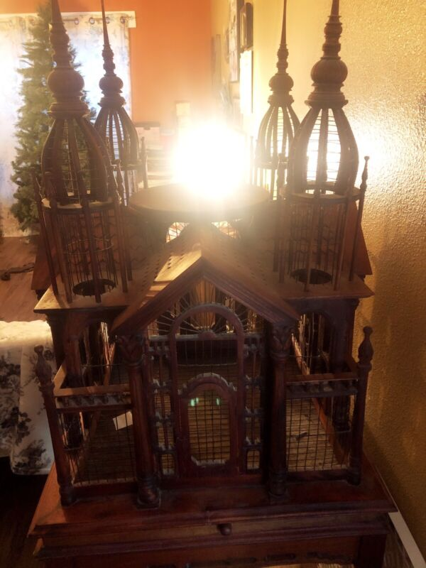 Antique Victorian Style Hand Carved Cathedral Bird Cage.