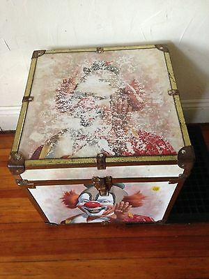 Vintage Antique Rare Old ? Circus Clown Art Storage Trunk Toy Box Chest