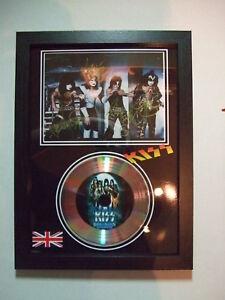KISS    SIGNED FRAMED GOLD CD  DISC   938