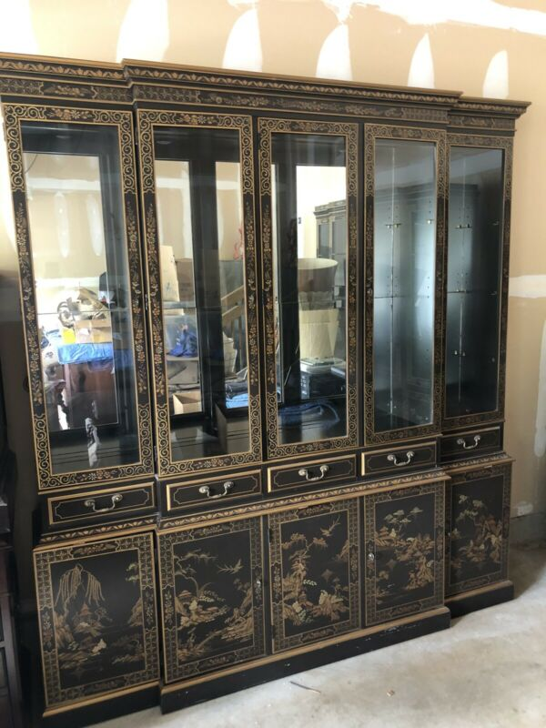 Oriental Furniture Black Lacquer China Cabinet 62 inches Long