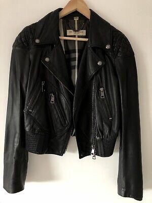 Genuine Burberry Black Leather Jacket UK 12