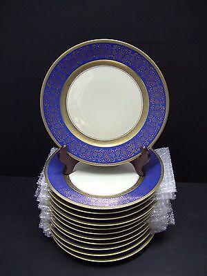 """12 Rosenthal Pickard M1- 15 Gold Encrusted Cobalt Blue Floral Dinner 11"""" Plates"""