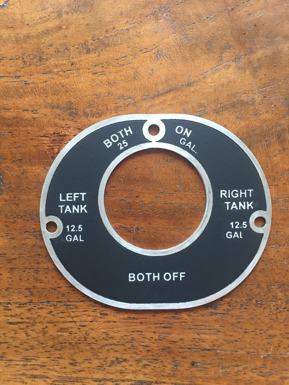 New Luscombe Fuel Selector Placard, Indicates 12.5 Gallons of Fuel Per Side