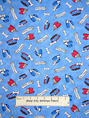 Puppy Dog Bone Bowl News Paper Blue Cotton Fabric QT #23422-B A Dogs Life YARD