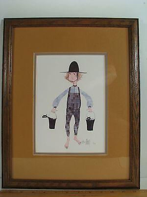 1982 599/1000 P Buckley Moss CHRIS Little Boy w Cats Framed Print   for sale  Des Moines